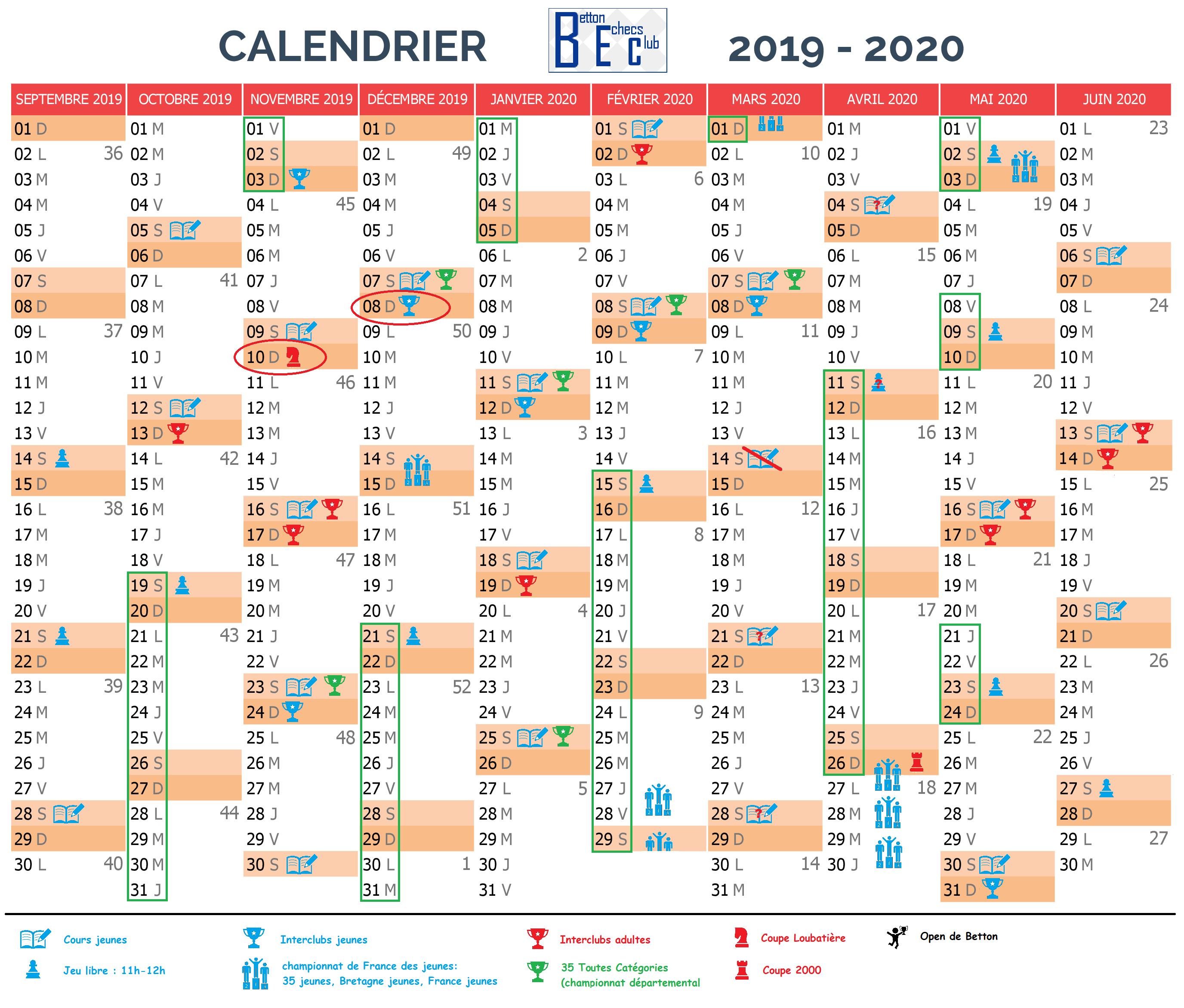 Calendrier actualisé le 13 mars 2020